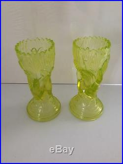Stunning Rare Pair Of Antique John Derbyshire Green Uranium Glass Hand Vases