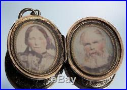 Stunning Rare Victorian 15ct Gold Double Hand Painted Portrait Miniature Locket
