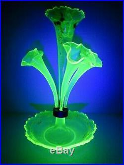 Superb Antique Victorian 1890's Uranium Glass Epergne Flower Vase Hand Painted