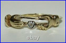 Superb, Antique Victorian 9 Ct Gold Fede Gimmel, Hand Over A Diamond Heart Ring