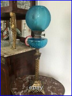 Superb original antique Victorian oil lamp with lovely shade and hand cut font