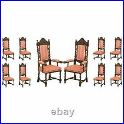 Ten Victorian 1880 Hand Carved Jacobean / Gothic Revival Oak Dining Chairs 10