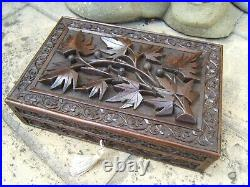 Terrific Early Anglo Indian Hand Carved Antique Jewellery Box Fab Interior