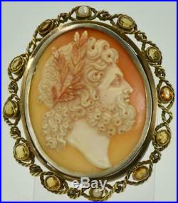 The most impressive antique Victorian 18k gold&hand carved Shell Cameo brooch