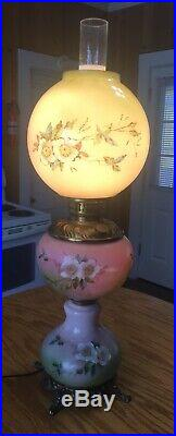 Unique 3 Tier Victorian Gone With The Wind Lamp Hand Painted 25 Tall