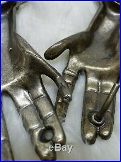 Unique vintage 1970's Clasping Hands Victorian style Belt Buckle Antique Bronze