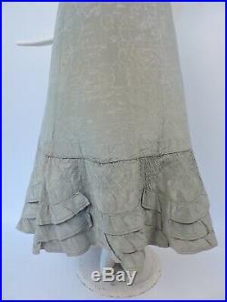 Unusual Victorian 19th C Green Moire Silk Petticoat For Dress W Hand Ruching