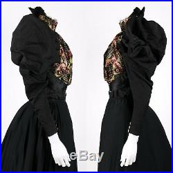 VICTORIAN Couture c. 1890's Bodice Bustle Skirt Dress Hand Painted Button Set