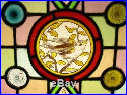 VICTORIAN ENGLISH LEADED STAINED GLASS WINDOW Hand Painted Bird 17 x 18.75