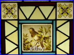 VICTORIAN ENGLISH LEADED STAINED GLASS WINDOW Hand Painted Bird 18.5 x 18.5