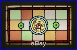 VICTORIAN ENGLISH LEADED STAINED GLASS WINDOW Hand Painted Bird 24 x 15.75