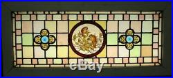 VICTORIAN ENGLISH LEADED STAINED GLASS WINDOW Hand Painted Birds 42.25 x 19