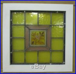 VICTORIAN ENGLISH LEADED STAINED GLASS WINDOW Hand Painted Daisy 17.25 x 17.25