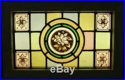 VICTORIAN ENGLISH LEADED STAINED GLASS WINDOW Hand Painted Floral 18.5 x 12
