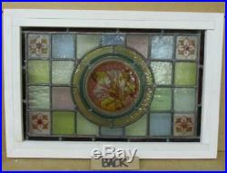 VICTORIAN ENGLISH LEADED STAINED GLASS WINDOW Hand Painted Flowers 19 x 13