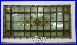 VICTORIAN ENGLISH LEADED STAINED GLASS WINDOW Hand Painted Transom 35 x 19