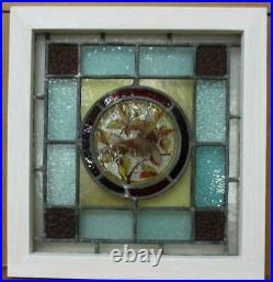 VICTORIAN ENGLISH LEADED STAINED GLASS WINDOW Lovely Hand Painted Bird 17' x 18