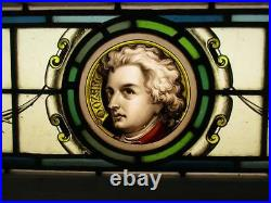 VICTORIAN ENGLISH LEADED STAINED GLASS WINDOW Mozart Hand Painted 35.5 x 10