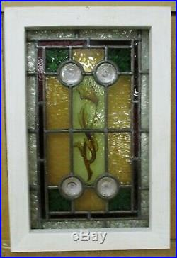 VICTORIAN ENGLISH LEADED STAINED GLASS WINDOW Small Hand Painted 12.75 x 19.25