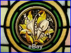 VICTORIAN ENGLISH LEAD STAINED GLASS WINDOW Hand Painted Calla Lilies 17 x 11