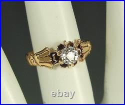 VICTORIAN EURO DIAMOND Ring 1890s 14k GOLD Sz 5 HANDS CRESCENTS $1999 Appraisal