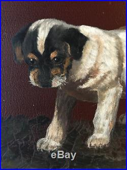 VINTAGE Victorian antique puppies hand painted original oil PAINTING dog animal