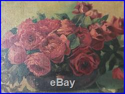 VINTAGE Victorian antique rose flower floral hand painted original oil PAINTING