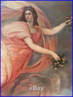 VINTAGE angel portrait original oil painting hand painted Victorian antique old