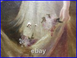 VINTAGE woman portrait original oil painting hand painted Victorian antique old