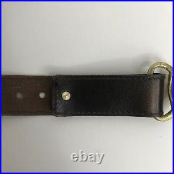 VTG 1970s Georges Mailian Brass Victorian Clasping Hands Belt Brown Leather S