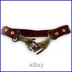 VTG 1970s LEATHER brass Victorian Clasping Hands snap adjustable belt DEFECT