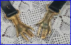 VTG 70's Rare Victorian Style Brass Clasped Hands Buckle Black Leather Belt
