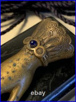 V. Rare Antique Victorian Electric Hand Butler / Servant Bell Push Button Call