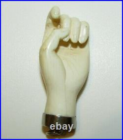 Very Large, Antique Victorian Sterling Silver Carved Hand Mano Pendant