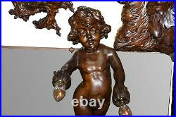 Very Large Circa 1900 Hand Carved Wall Mirror Putti Angel With Lights & Dragon