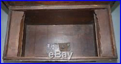 Very Rare 17th Century Walnut Spanish Chest Or Trunk Hand Carved Iron Bound Lock