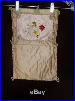 Very Rare French Antique Silk Hand Embroidered Victorian Book Cover 9 X 15