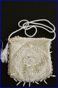 Very Rare French Antique Silk Hand Made Cotton Lace Victorian Purse 8 X 8