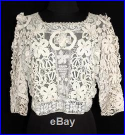 Very Rare French Victorian Off White Cotton Hand Made Lace Blouse 38 Bust