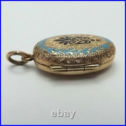 Victorian14K GF Hand Engraved Enamel Mourning Double Photo Locket Charm Pendant