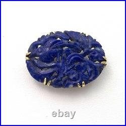 Victorian 14K Gold Chinese Hand Carved Blue Lapis Brooch Pin 6gr