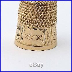Victorian 14K Gold Hand Engraved Sewing Thimble SIZE 7