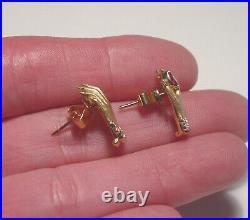 Victorian 14k Ruby Diamond Lady's Hand Pierced Earrings