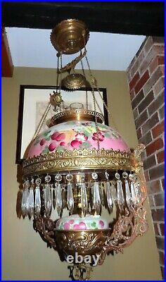 Victorian 1800's Hand Painted Hanging Parlour Lamp with Matching Font