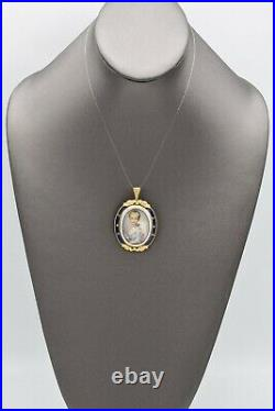 Victorian 18K Gold Enamel Diamond Hand Painted Portrait Pendant Brooch Pin 13.6