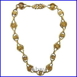 Victorian 18 Karat Yellow Gold Open Link Hand Carved Necklace 16.5 In. Antique