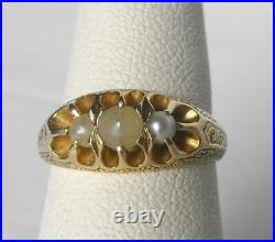 Victorian 18k Gold Belcher Hand Engraved 3 Stone Pearl Ring Gorgeous Mounting