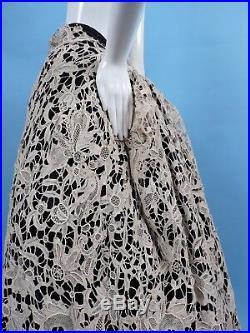 Victorian 19th C Hand Made Ecru Floral Needle Lace Skirt 4 Dress