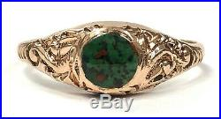 Victorian Antique 10K Rose Gold & Bloodstone Hand-Chased Ring Size 6