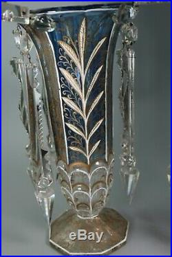 Victorian Antique 12 Mantle Lusters Hand Painted Blue & Gold